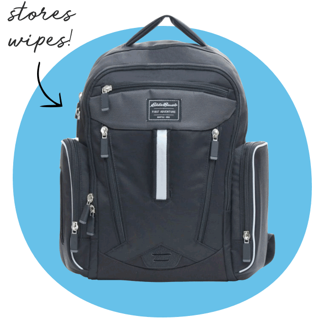 Eddie Bauer® Places & Spaces Sporty Backpack Diaper Bag. Stores wipes!
