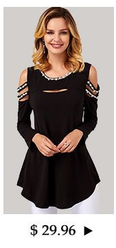 Curved Hem Cold Shoulder Pearl Embellished T Shirt