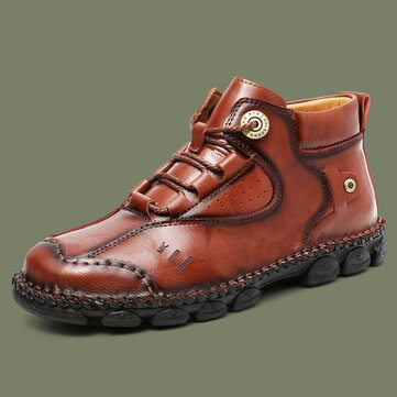Vintage Stitching Leather Boots