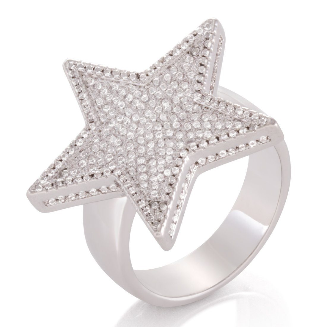 Image of White Gold 5-Pointed CZ Star Ring