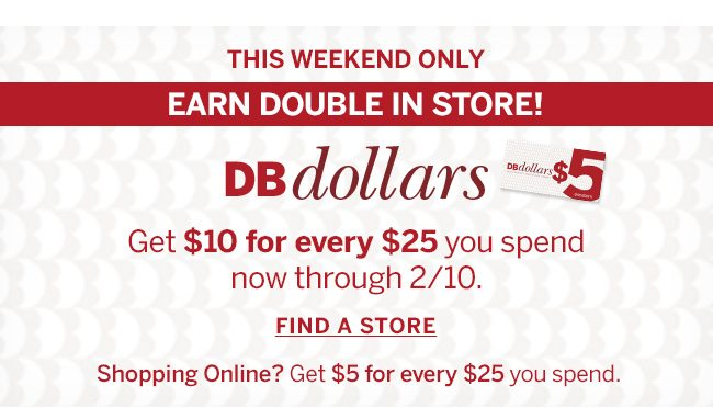 THIS WEEKEND ONLY. EARN DOUBLE IN STORE! Get $10 for every $25 you spend now through 2/10. Shoping Online? Get $5 for every $25 you spend.
