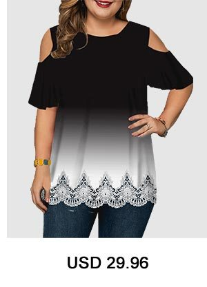 Cold Shoulder Scalloped Hem Plus Size Blouse