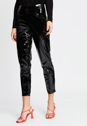 Vinyl Zip Detail Trousers