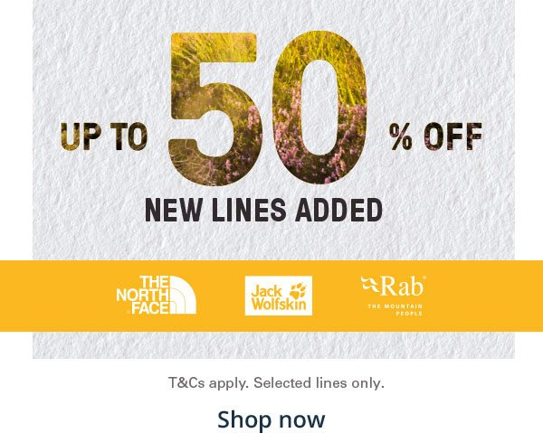 Up to 50 Percent Off - New Lines Added - Shop now