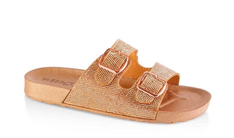Rhinestone Two Buckle Footbed Sandals