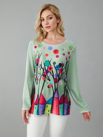 Tree House Printed Knit Blouse
