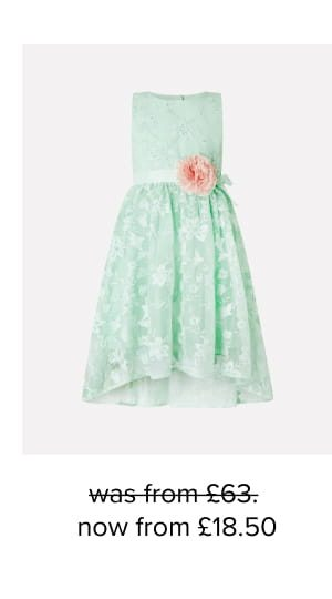 Sylvie mint lace high-low dress green