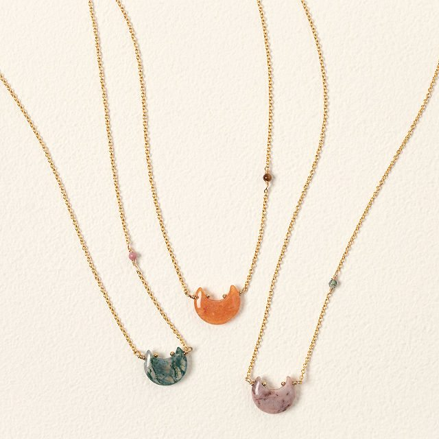 Moon & Star Power Stone Necklace