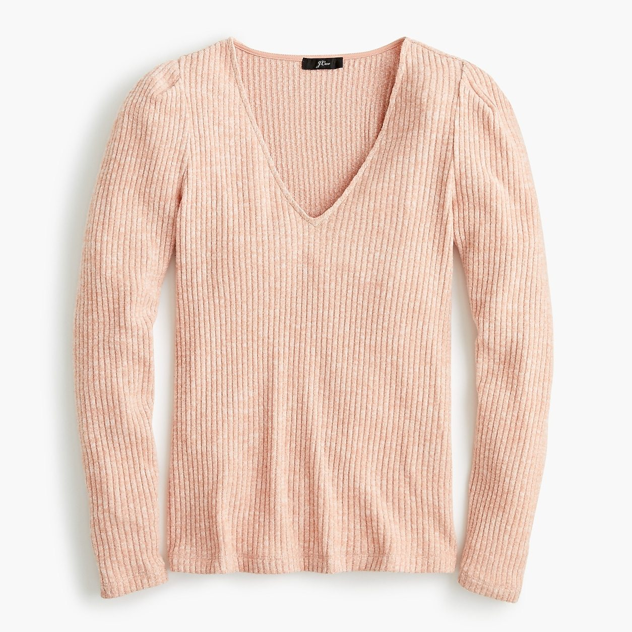 Puff sleeve V-neck top in soft rib