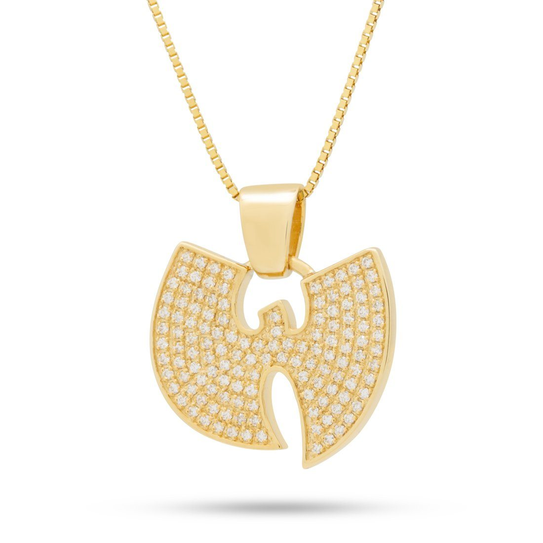 "14K Solid Gold And Diamond Wu-Tang x King Ice - Micro ""W"" Necklace"