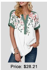 Short Sleeve Floral Print Contrast Piping Blouse