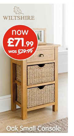 Wiltshire Oak Console Table With, Wiltshire Oak Console Table With Storage Baskets