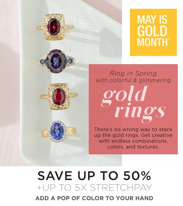 May is gold month! Shop colorful rings in gold!