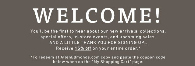 Paste the coupon code below at checkout to receive 15% off your entire order >