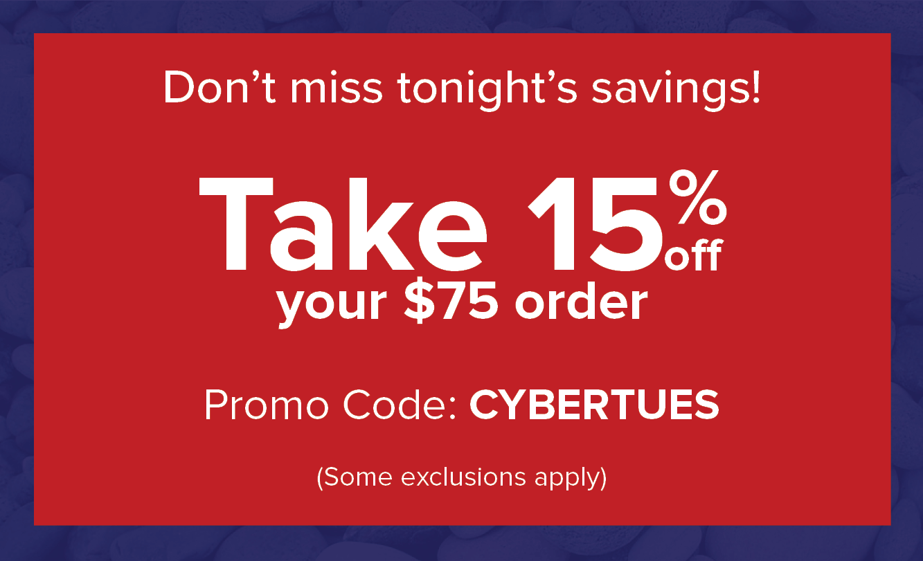 Save 15% on today's order of $75 or more!