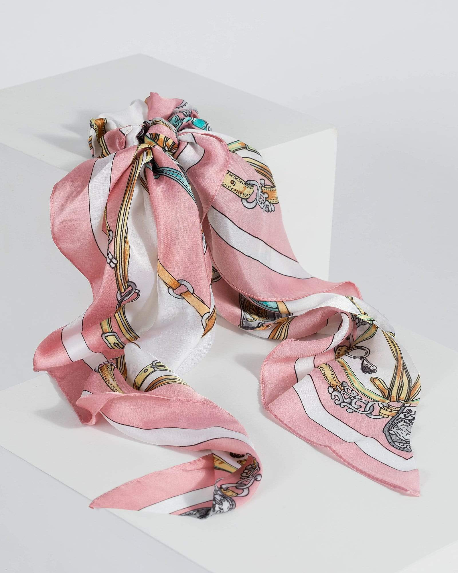 Image of Multi Colour Rope Print Scarf Scrunchie
