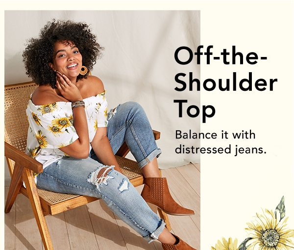 Off-the-shoulder top: balance it with distressed jeans.
