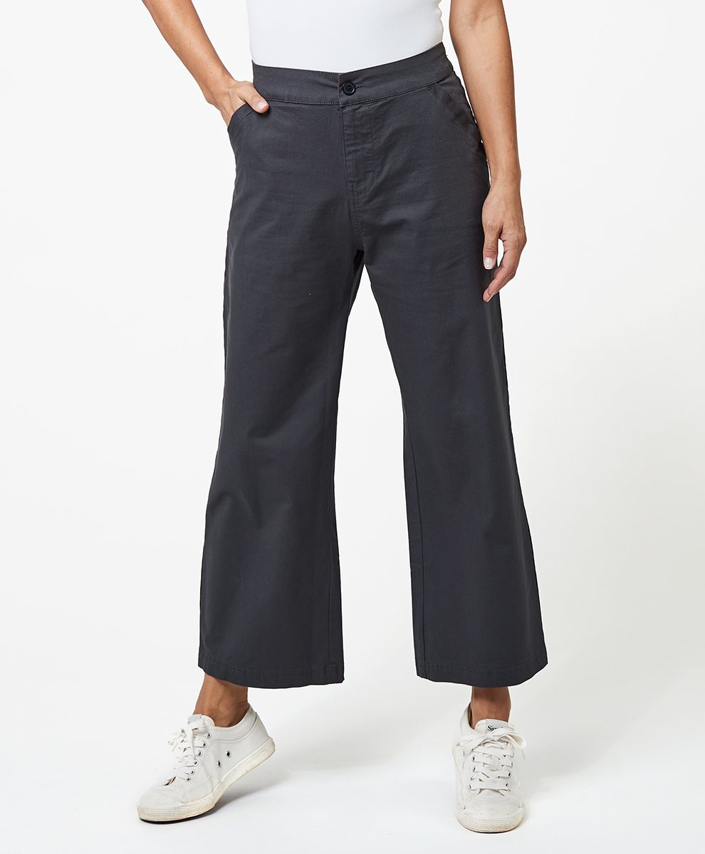 Wide Leg Cropped Pant in Storm