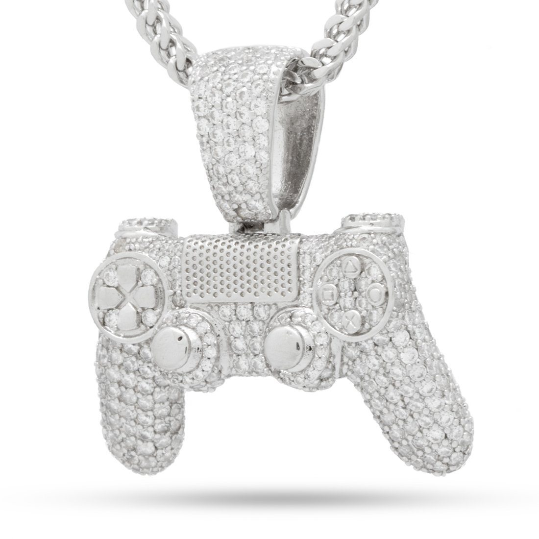 Image of PlayStation by King Ice - The Iced Out White Gold Classic Controller Necklace