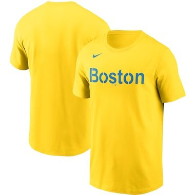 Nike Boston Red Sox Gold 2021 City Connect Wordmark T-Shirt
