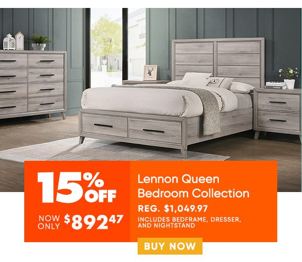 15% off Lennon Queen Bedroom Collection