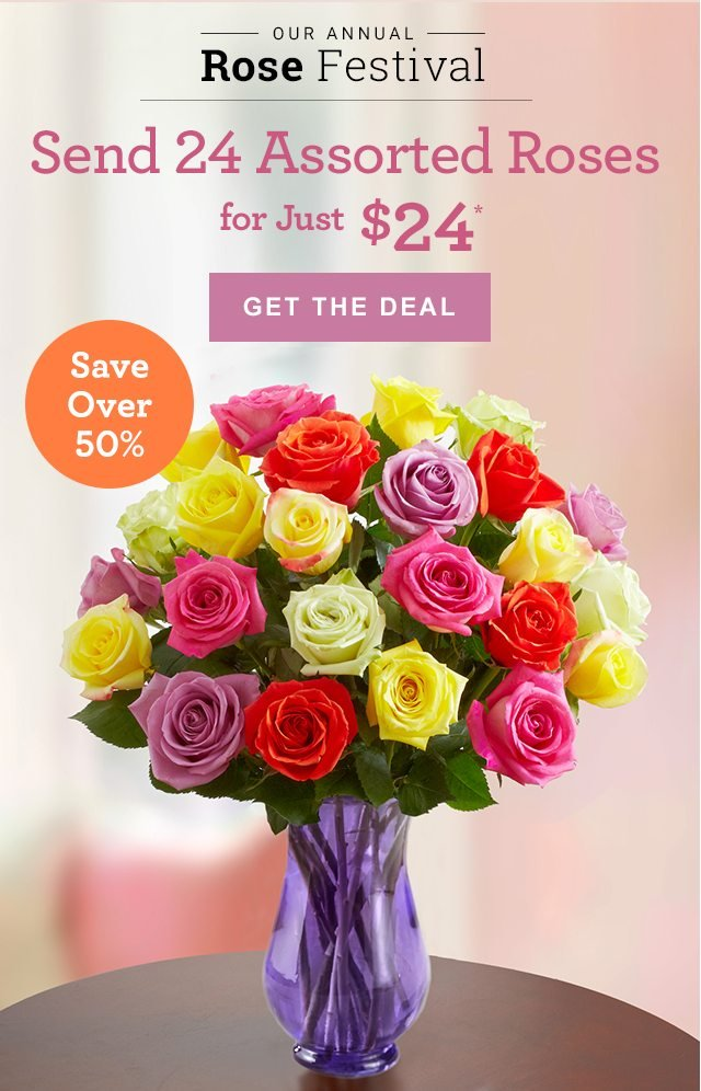 Smile… Our Rose Festival is in Full Bloom! Send 24 Assorted Roses for Just