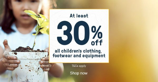 At least 30 percent off all children's clothing, footwear and equipment - Shop now