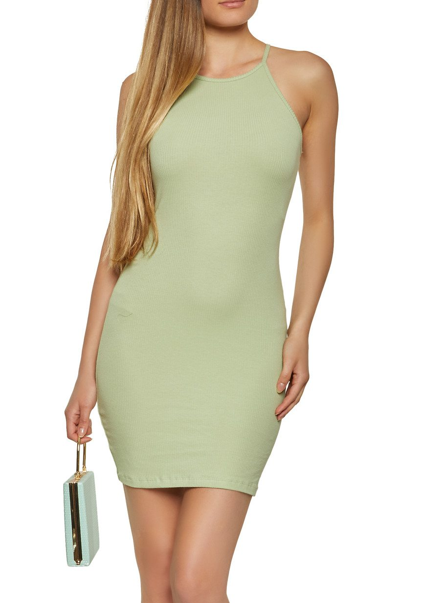 Solid Ribbed Knit Cami Dress