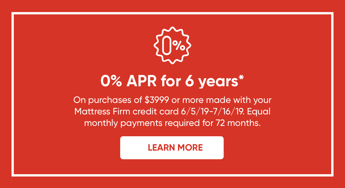 0% APR for 6 years on purchases of $3999 or more. Learn more.