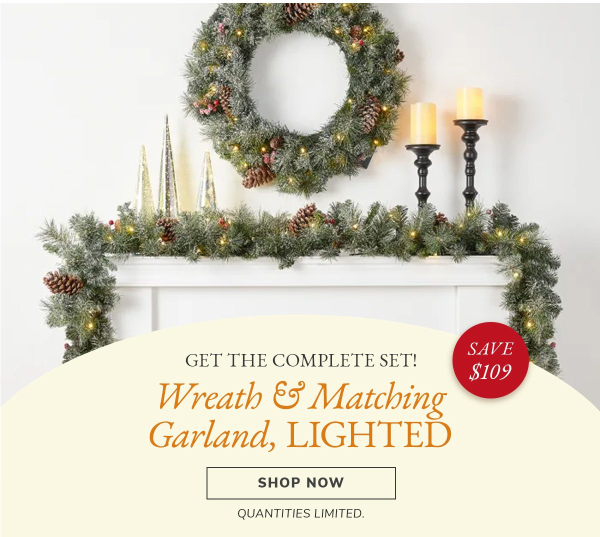 Get the complete set! Wreath & Matching garland, LIGHTED