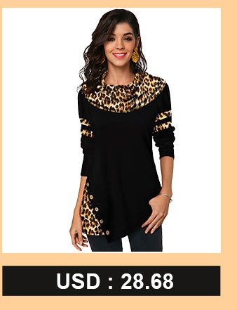 Leopard Print Button Detail Long Sleeve T Shirt