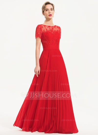 A-Line Scoop Neck Floor-Length Chiffon Evening Dress (017186...