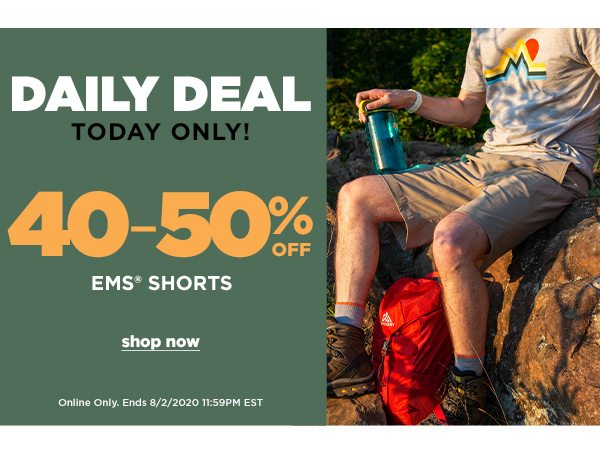 Daily Deal: 40-50% OFF EMS Shorts - Online Only - Click to Shop