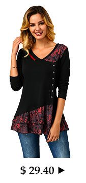 Printed V Neck Button Front T Shirt