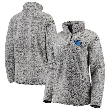 Kentucky Wildcats Top of the World Women's Coast to Coast Sherpa Quarter-Snap Pullover Jacket - Charcoal