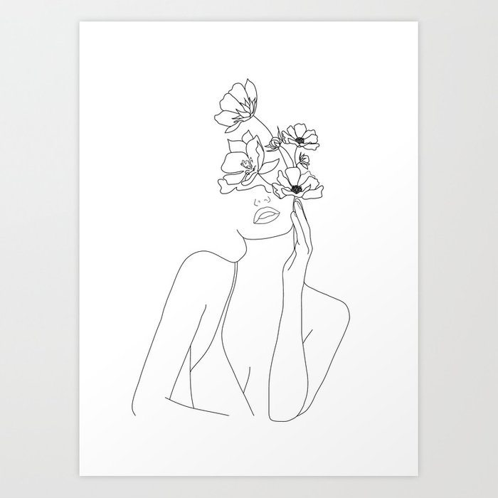 Minimal Line Art Woman with Flowers
