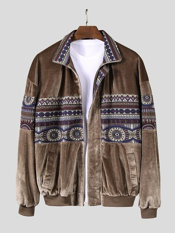 Men Vintage Ethnic Pattern Soft Casual Jackets