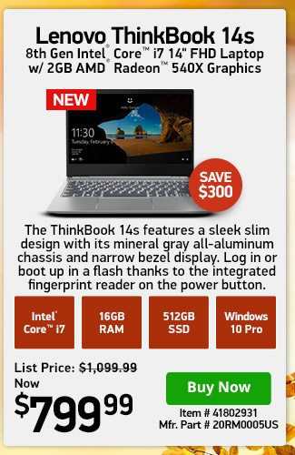 Lenovo ThinkBook 14s i7-8565U 8GB 512GB Radeon 2GB | 41802931 | Shop Now