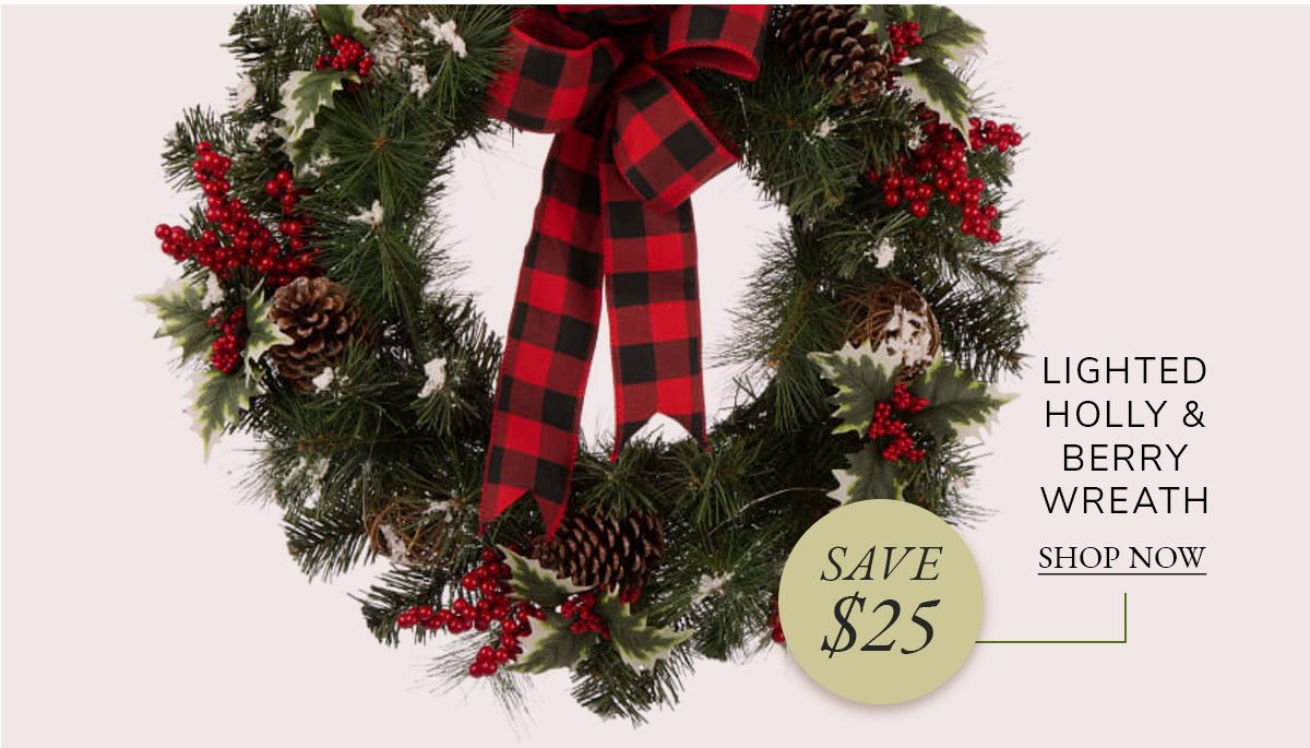 LED Pre-Lit Greenery Buffalo Bow Berry Holly Pine Cone Rattan Ornament Wreath | SHOP NOW