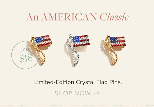 An American Classic: Limited-Edition Crystal Flag Pins