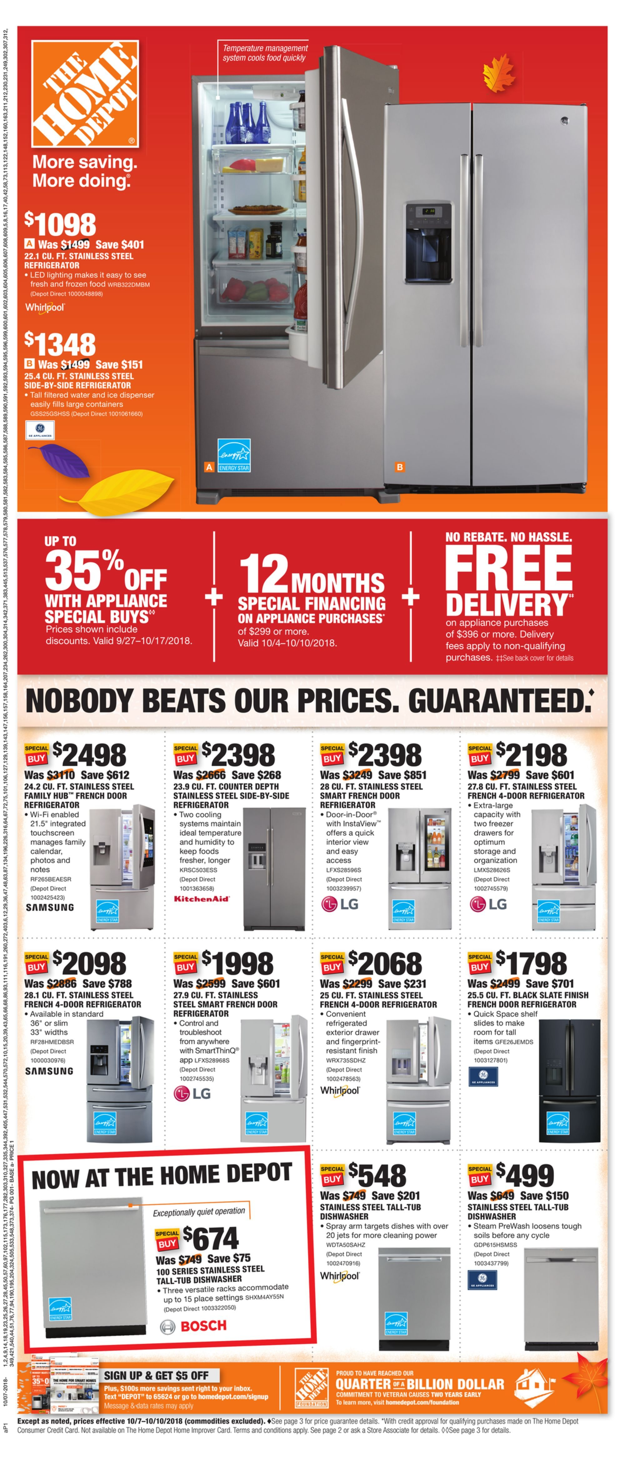 Torrance Shop Our Appliance Savings In This Week S Ad Home Depot