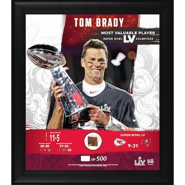 "Tampa Bay Buccaneers Tom Brady Fanatics Authentic Framed 15"" x 17"" Super Bowl LV Champions Super Bowl LV MVP Collage with Piece of Game-Used Football - Limited Edition of 500"