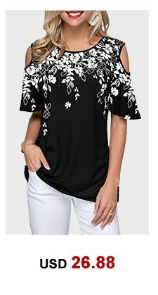 Flower Print Round Neck Cold Shoulder Blouse
