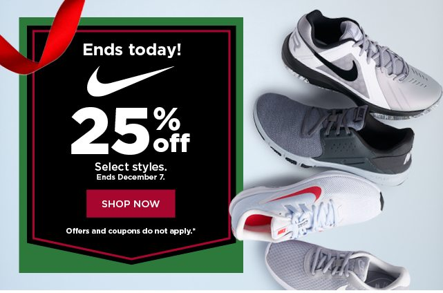 25% off nike. shop now.