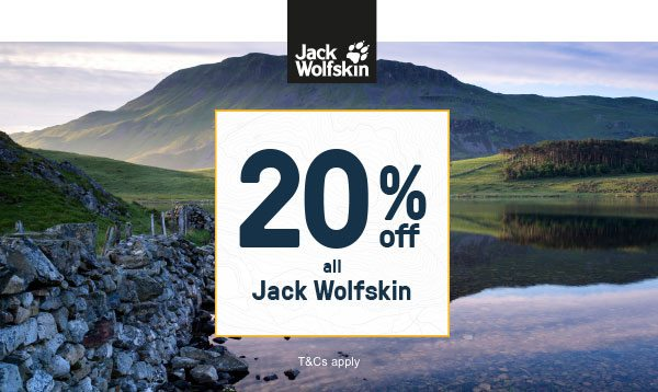 20 Percent off all Jack Wolfskin - Shop Now