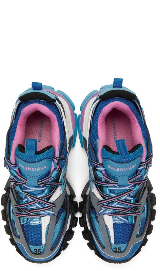 Balenciaga - Blue And Pink Track Sneakers