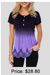 Half Button Scalloped Hem Lace Panel T Shirt