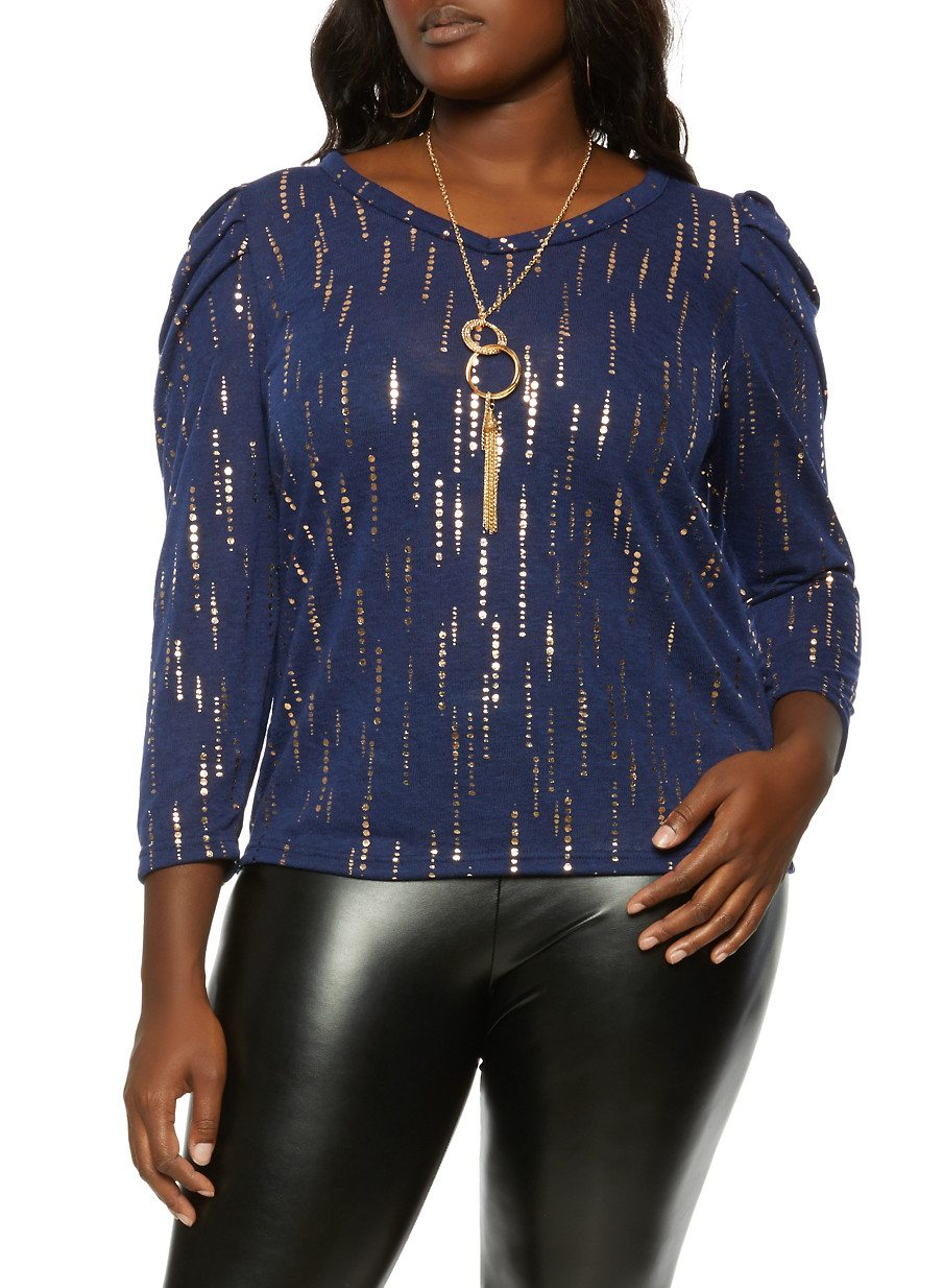 Plus Size Puff Sleeve Foil Print Top with Necklace