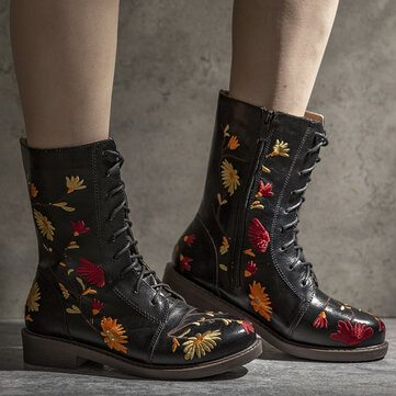 Flowers Embroidered Knight Boots