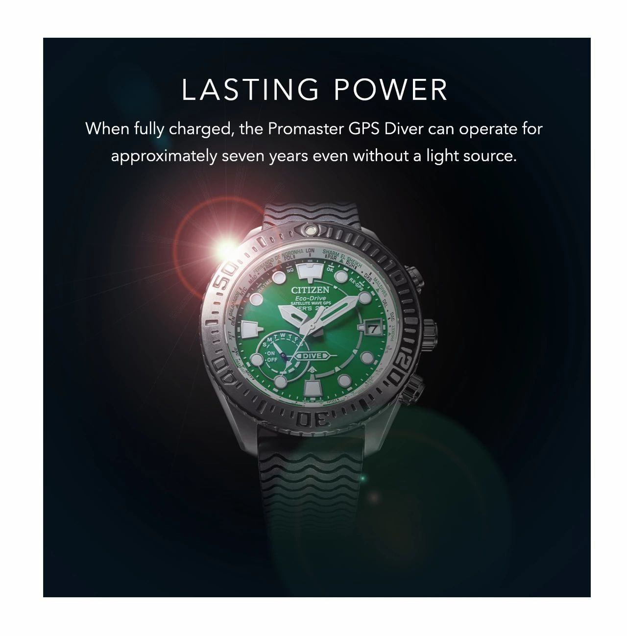 Lasting power: When fully charged, the Promaster GPS Diver can operate for approximately seven years even without a light source.